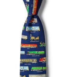 Derailed Tie by Alynn -  Navy Blue Silk