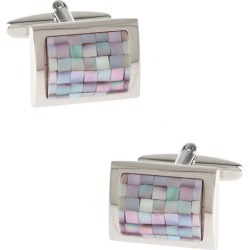 Rounded Rectangle Mosaic Cufflinks by Silk Rhino -  Pink Metal
