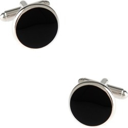 Thin Solid Round Cufflinks by Silk Rhino -  Black Metal