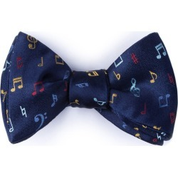 Let's Compare Notes Self-Tie Bow Tie by Alynn -  Navy Blue Silk