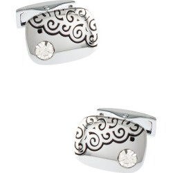 Spiral Gem Cufflinks by American Necktie Co. -  White Metal