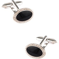 Framed Black Oval Cufflinks by Silk Rhino -  Black Metal