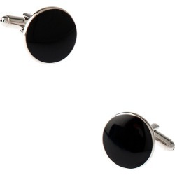 Solid Round Cufflinks by Silk Rhino -  Black Metal