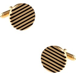 Round Solid Striped Cufflinks by Silk Rhino -  Gold Metal