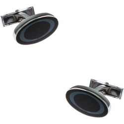 Circled Oval Cufflinks by American Necktie Co. -  Cobalt Metal