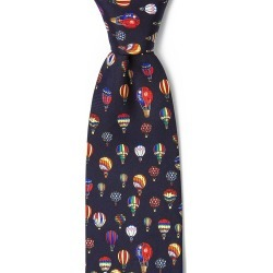Hot Air Balloons Tie by Alynn -  Navy Blue Silk