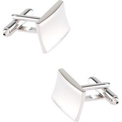 Warped Rectangle Cufflinks by Silk Rhino -  Silver Metal