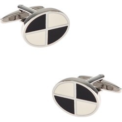 Quarter Oval Cufflinks by RM Style -  White Metal