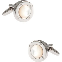 Round Symbolic Pearl Cufflinks by Silk Rhino -  White Metal