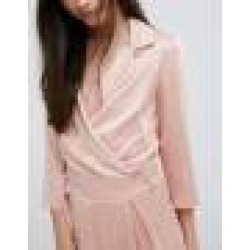 Alter Petite Plunge Neck Tailored Jumpsuit With Tie Detail - Pink