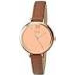 Limit Women's Quartz Watch with Gold Dial Analogue Display and Brown Polyurethane Strap 6073.01
