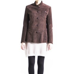 Leather Collection Brown Suede Military Jacket