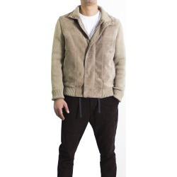 Leather Collection Beige Suede Jacket with Mixed Cashmere Knit Sleeves
