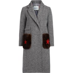 Ava Adore Diana Black And White Herringbone Coat With Fur found on MODAPINS from Italist for USD $956.14