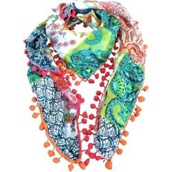 Gigi silk scarf with pompom trim