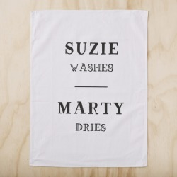 Personalised 'washes & dries' tea towel found on Bargain Bro Philippines from hardtofind.com.au for $23.54