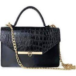 Angela Valentine Handbags - Gavi Top Handle Bag In Black Croc-Embossed found on Bargain Bro UK from Wolf and Badger