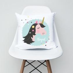 Unicorn girls personalised cushion