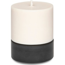 CONCRETE & WAX - Large Amber Noir Soy Wax Candle & Concrete Candle Holder In Black