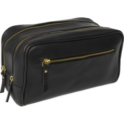 VIDA VIDA - The Double-Up Black Leather Wash Bag 3 Zip found on Bargain Bro UK from Wolf and Badger