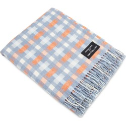 Heating & Plumbing London - Merino Lambswool Throw Blue With Orange Checks found on Bargain Bro UK from Wolf and Badger