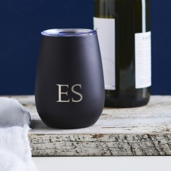 Personalised engraved initials reusable wine sippy cup