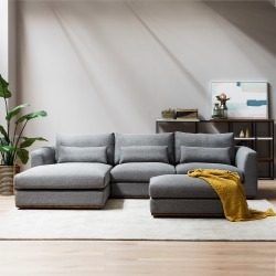 Alfie Chaise Sectional Sofa Left Hand Facing, Checked Gray