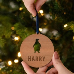 Personalised Wooden Penguin Christmas Bauble For Kids