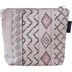 The Humble Cut - Boho Wash Bag - Dark Blue & Dusky Pink On Unbleached Canvas found on Bargain Bro from Wolf & Badger US for USD $30.40