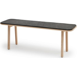 Hven Bench with Cushion Oak Protected Leather Anthracite Black