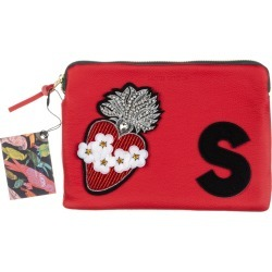 Laines London - Embellished Flower Heart Personalised Classic Leather Clutch Bag - Small - Red /Black found on Bargain Bro from Wolf and Badger for £106