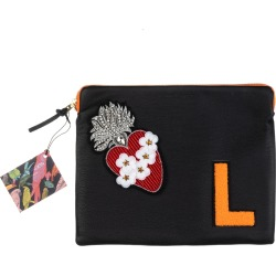 Laines London - Embellished Flower Heart Personalised Classic Leather Clutch Bag - Large - Black & Orange found on Bargain Bro UK from Wolf and Badger