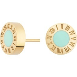Florence London - Gold Florence Studs With Turquoise Enamel