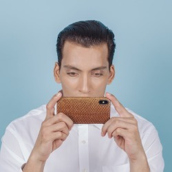 MAYU - Quinn - iPhone Case - Salmon Leather - Cognac found on Bargain Bro Philippines from Wolf & Badger US for $89.00