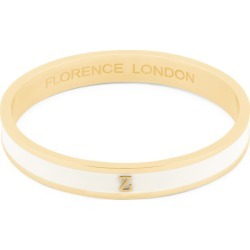 Florence London - Initial Z Bangle 18Ct Gold Plated With Cream Enamel