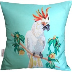 Chloe Croft London Limited - Cockatoo Cushion On Blue found on Bargain Bro UK from Wolf and Badger