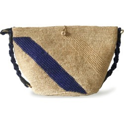 MARAINA LONDON - Annabel Raffia Crocheted Beach Bag - Natural & Blue found on MODAPINS from Wolf & Badger US for USD $212.00