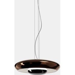 Corona Pendant Light White Gloss Interior with Metallic Copper Exterior