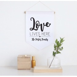 Love lives here personalised pennant wall banner