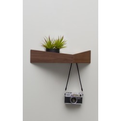 Pelican Shelf with hidden hooks Walnut, Medium