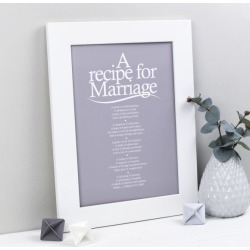 Recipe for marriage personalised poem print