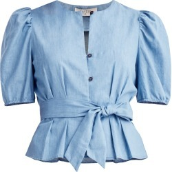 PAISIE - Belted Denim Blouse In Blue found on Bargain Bro from Wolf & Badger US for USD $91.96
