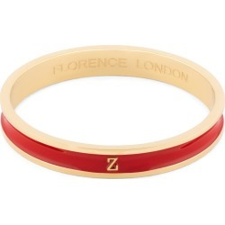 Florence London - Initial Z Bangle 18Ct Gold Plated With Red Enamel