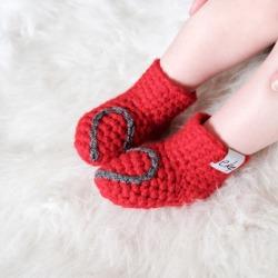 Handmade Baby Booties With Heart Design