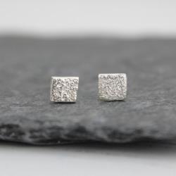 Silver Mini Square Studs