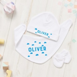 Personalised Scandi Cloud Hat, Bib And Mitt Gift Set found on Bargain Bro from hardtofind.com.au for USD $26.04