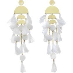 Women's White Calypso Tassel Earring (Gold, ) Stella & Ruby