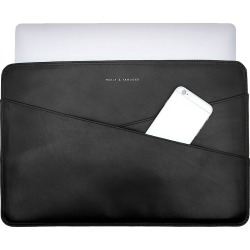 Holly & Tanager - 15 Inch Leather Laptop Sleeve In Black