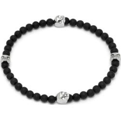 Northskull - Micro Black Onyx & Silver Quatro Skull Charm Bracelet found on MODAPINS from Wolf & Badger US for USD $154.00