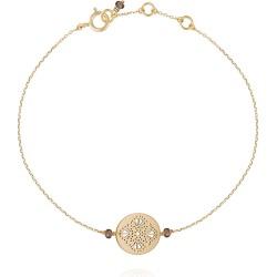 PERLE DE LUNE - Art Deco Bracelet Smokey Quartz - 9k Gold